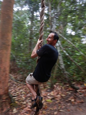 Jonathan couldn't resist trying his Tarzan impersonation while we visited Preah Khan; the jungle-like forest around Angkor contrasted with the rice fields we saw in the rest of the country