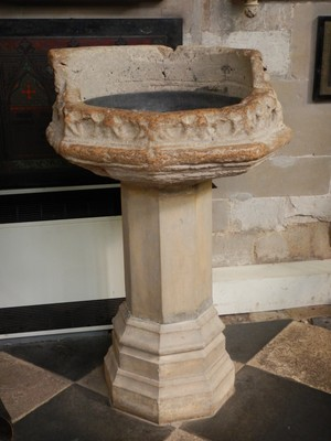 This is the baptismal font at Holy Trinity Church in which Shakespeare was baptized; the church records showing Shakespeare's baptism as well as his death are on display