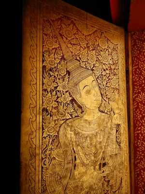Every element of a Buddhist temple is a work of a art such as this door from Wat Phra Singh; most temples are free but some charge small admission fees (typically $1 or less)