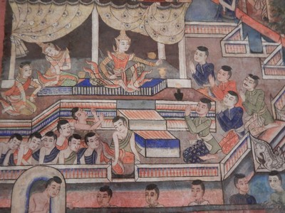The murals of the wihan at Wat Phra Singh are exceptional; they tell Buddhist stories and impressed me with their detail and vibrant colors