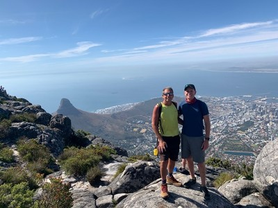 Lee and I at the top of Table Mountain, one of the New 7 Wonders of Nature; I was exhausted and very thankful that the cable car, operating since 1929, was there to take me down the mountain