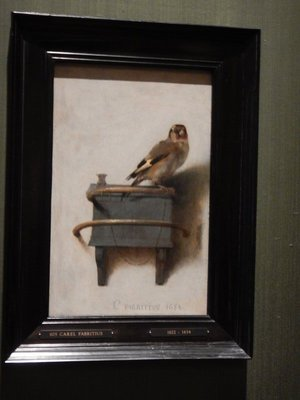 Carel Fabritius, The Goldfinch, 1654; this painting was made famous as the subject of the great 2013 book by Donna Tartt