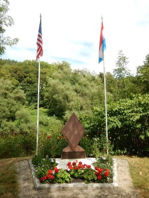Monument to the US 5th Infantry Division which crossed the Sure River here under heavy enemy fire in February 1945 to reliberate Luxembourg