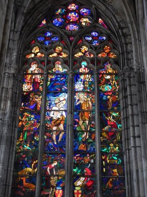 Only 5 of the original 12th century stained glass windows remain; a master stained glass maker was hired with the windows actually costing more than the stone building itself
