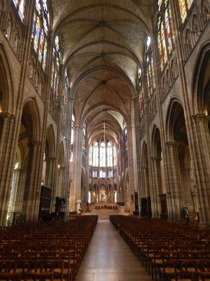 The Basilica of St Denis is 108 meters long and 38 meters wide; both stylistically and structurally, the Basilica heralded the change from Romanesque architecture to Gothic architecture