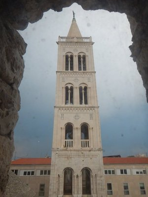 The first two floors of the cathedral bell tower were built in 1452 but it wasn't finished until 1894; it seemed like everyone I saw in Zadar was eating ice cream