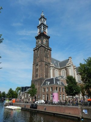 The Westerkerk was built in 1631 and Rembrandt is buried inside somewhere but no one knows exactly where; Anne Frank listened to the carillon bells every day which gave her hope