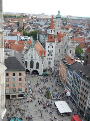 The Old Town Hall (1392) is the white building and bell tower that anchors one end of the Marienplatz; it served as home of the Munich City Council until 1874