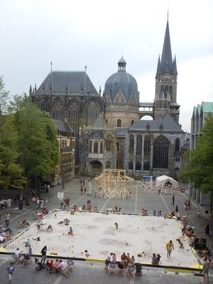 View of Aachen Cathedral from City Hall; from 936 to 1531, 31 Holy Roman Emperors were crowned Kings of the Germans.here in Aachen