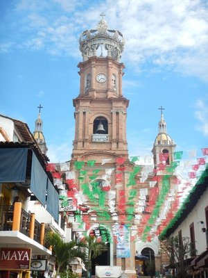The heart of old Puerto Vallarta is the Church of our Lady of Guadalupe; red, white and green are the colors on the Mexico flag