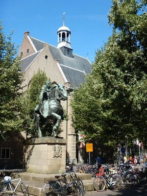 Equestrian statue of Saint Willibrord who was one of the first missionaries to live in the Low Countries and the first bishop of the diocese of Utrecht .