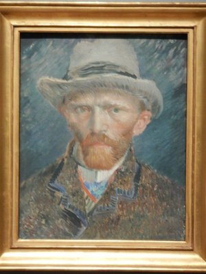 Van Gogh, Self-portrait, 1887; in 1886 Van Gogh moved to Paris and his paintings became brighter and less somber
