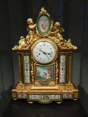 Sevres Mantel Clock (owned by Tsar Paul I of Russia), 1782; with its combination of splendidly worked gilt-bronze and Sevres porcelain, this clock is a spectacular demonstration of the unrivaled quality of Parisian craftsmanship