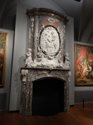 Xavery, Mantelpiece with relief of Paris and Oenone, 1739; made from Carrara marble and red/grey Belgian marble for a baron in Leiden