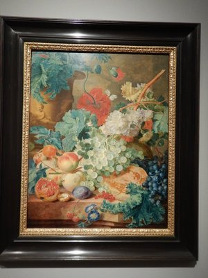 Van Huysum, Still Life with Flowers and Fruit, 1728; I loved this colorful arrangement with its lifelike accuracy