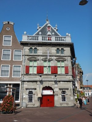 The Haarlem weigh house dates from 1597; Haarlem has been the historical center of the tulip bulb-growing district for centuries and bears its nickname 'Bloemenstad' (flower city) for this reason