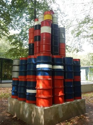 Christo, 56 Barrels, 1977; I think I've seen similar artwork lining the Houston Ship Channel that would come much cheaper than a work from Christo