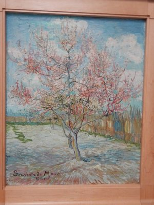 Van Gogh, Pink Peach Trees, 1888; like the Almond Blossom paintings at the Van Gogh Museum, this work is designed to evoke awakening and hope