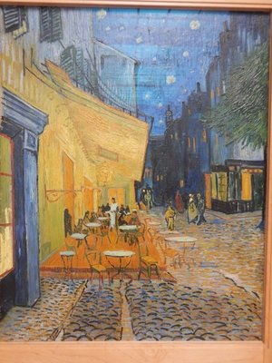 Van Gogh; Terrace of a Cafe at Night, 1888; perhaps the most famous Van Gogh here, the artist was looking at how to paint a nightscape without black paint