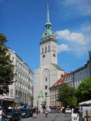 You could walk up 300  steps to the top of St. Peter's Church or, do like we did and, ride the elevator to the top of New City Hall; the two viewpoints are close together on opposing sides of the Marienplatz