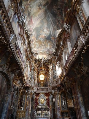 My favorite church is this over-the-top, Baroque masterpiece that is only 30 feet wide; Asam Church was completed in 1740 by 2 architect brothers who used it to promote their work