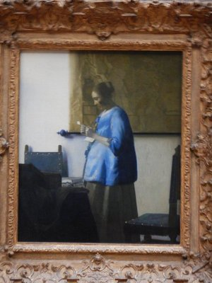 Vermeer, Woman in Blue Reading a Letter, 1663; one of only 34 known Vermeer works to survive, this is on temporary loan from the Rijksmuseum