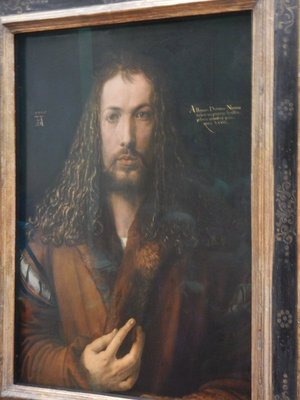 Durer, Self-Portrait, 1500; this was the last of three self-portraits Durer completed although he was only 28 at the time