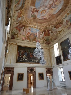 The interior of the Lustheim Palace is dominated by this large banqueting hall; Max Emanuel had the palace built to celebrate his victory over the Turks at the Gates of Vienna