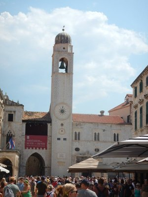 The town belfry stands 31m high and anchors one end of the Stradun; the City Guard, built in the 15th century, stands next to the belfry