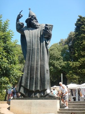 The monumental statue of Gregory, Bishop of Nin, lies just outside the Golden Gate; it was made in 1929 by Ivan Meštrović who now has a very well-respected museum at the base of Marjan Hill