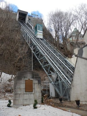 The funicular that links Upper Town and Lower Town opened in 1879; I chose to take the Breakneck Stairs instead