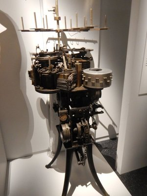 This is a sock knitting machine from about 1945; the textile industry here has virtually disappeared today