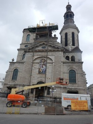 Our Lady of Quebec Basilica Cathedral; this diocese used to stretch to the Gulf of Mexico; Champlain may be buried underneath
