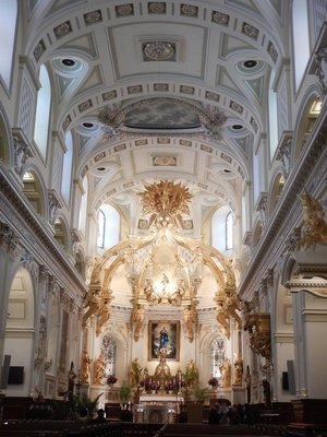 Interior of Our Lady of Quebec Basilica Cathedral; the large crypt underneath was Quebec City's first cemetery with more than 900 bodies