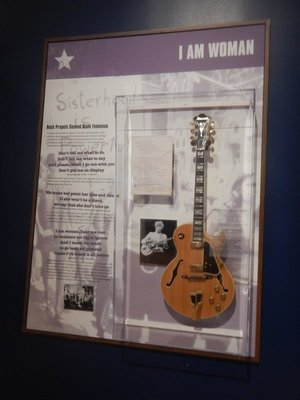 Joni Mitchell's guitar and an homage to Helen Reddy were part of a temporary exhibit focused on the influence music could have on politics
