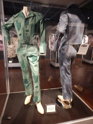 Denim suits from Elvis' personal collection made with patchwork denim and rhinestones; Elvis once sang in his school's talent show and came in 5th