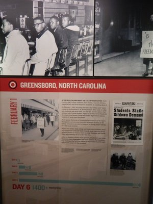 Greensboro became famous in the struggle for civil rights due to Black students sitting at the previously whites only lunch counter at Woolworth's; they inspired similar protests across the South
