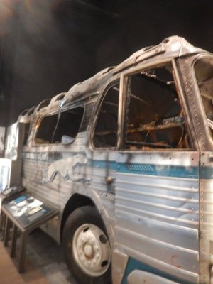 The Freedom Riders were met with violence, including fire bombs; Attorney General Robert Kennedy in 1961 issued new rules guaranteeing desegregated interstate travel