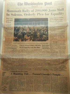 The highlight of the 1963 March on Washington was MLK's I Have a Dream speech; the march helped spur the Civil Rights Act of 1964 and Voting Rights Act of 1965