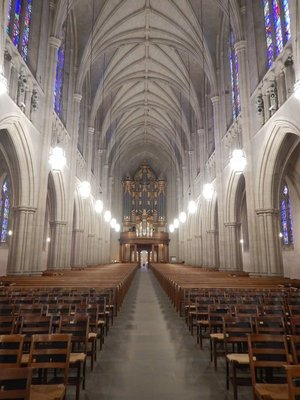 Duke Chapel has a 50 bell carillon, the heaviest weighs 11200 pounds and three pipe organs, the largest with 6900 pipes