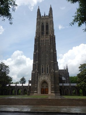 Duke Chapel was completed in 1932, holds 1800 people and stands 210 feet tall; it is an ecumenical Christian chapel with connections to the United Methodist Church