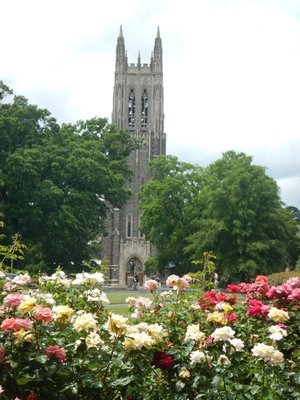 The bell tower of Duke Chapel is modeled after the Bell Harry Tower of Canterbury Cathedral; the chapel is built in Collegiate Gothic style
