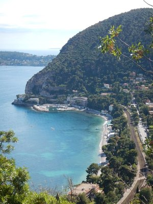 Trains travel along the coast but much of the journey east of Nice is within tunnels; the bus takes longer but is much more scenic