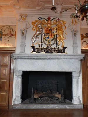 Royal Palace fireplace; the Crown Room holds national crown, sceptre, sword and the Stone of Scone upon which monarchs were traditionally crowned