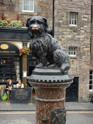 Greyfriars Bobby; statue of dog reported to have stayed by his masters grave for 14 years