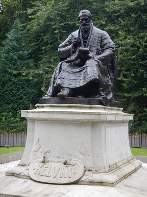 Lord Kelvin did pioneering work in math and physics while a professor at the University of Glasgow; lots of places in the city are named for him
