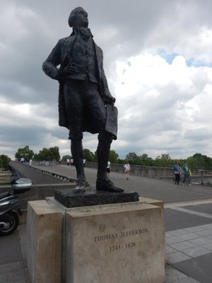 Thomas Jefferson, ambassador to France 1785-1789, stands watch over the Seine near the entrance to the Musee d'Orsay