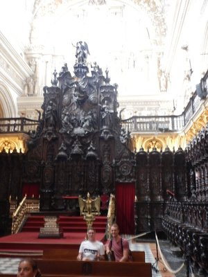 Mezquita choir was built in 16th and 17th centuries with carved mahogany choir stalls depicting scenes from the Bible