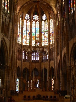 The colored glass was a rare commodity in medieval times; the colors developed for Saint Denis were then used in other famous churches such as Chartres and Le Mans