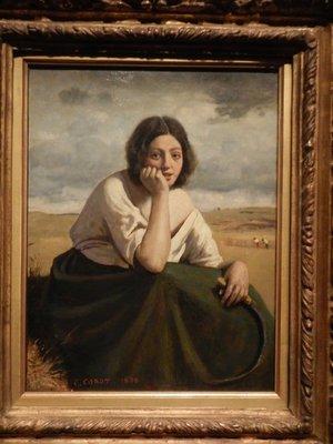 Corot, La Moissonneuse Tenant sa Faucille, la tête appuyée sur la main, 1888